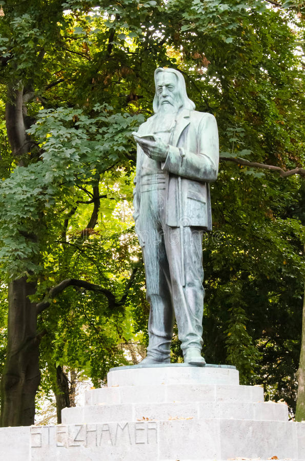 Download Sculpture Of Franz Stelzhamer, In Linz, Upper Austria Stock Image - Image of upper, brass: 28708633