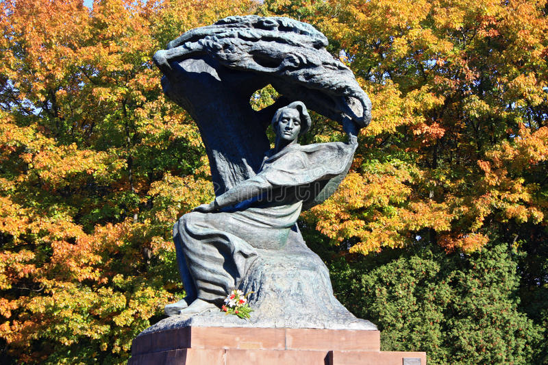 Sculpture of Frederic Chopin in Warsaw royalty free stock image