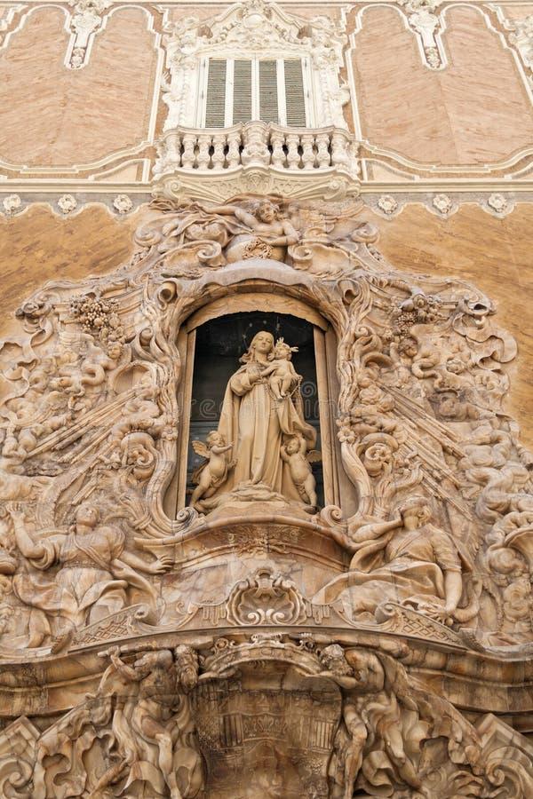 Sculpture on the front gate of Palacio del Marques de Dos Aguas Valencia, Spain stock images