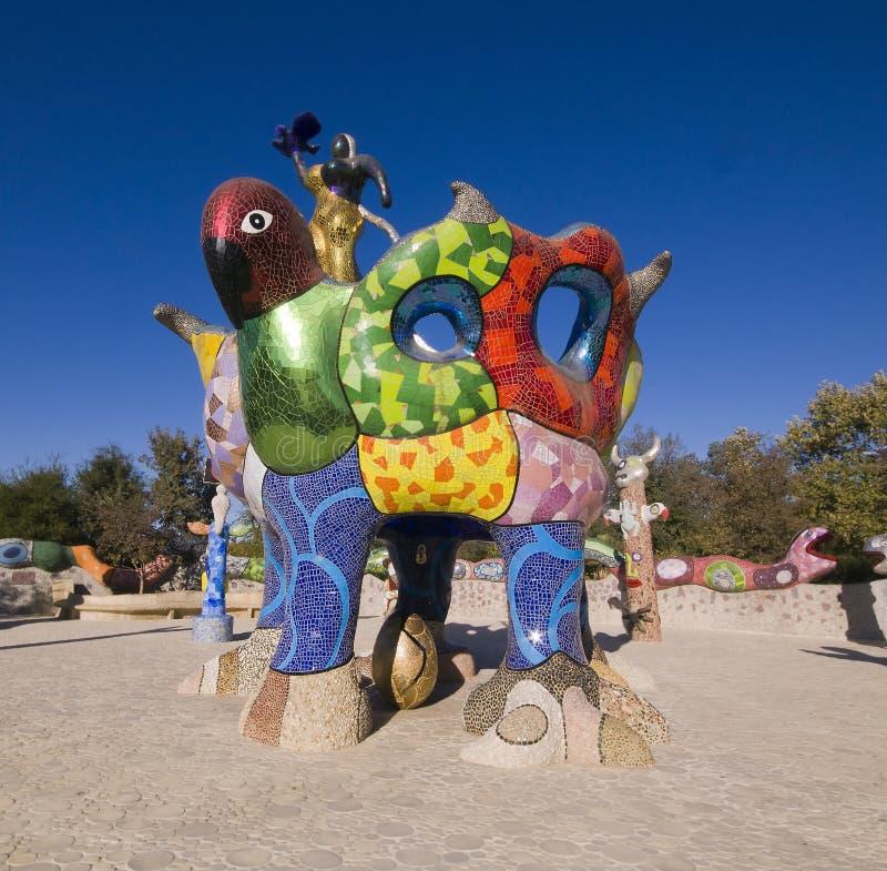 Sculpture Garden, Escondido California. Queen Califia and Eagle Throne, the centerpiece in the mosaic sculpture garden entitled Queen Califia's Magical Circle stock image