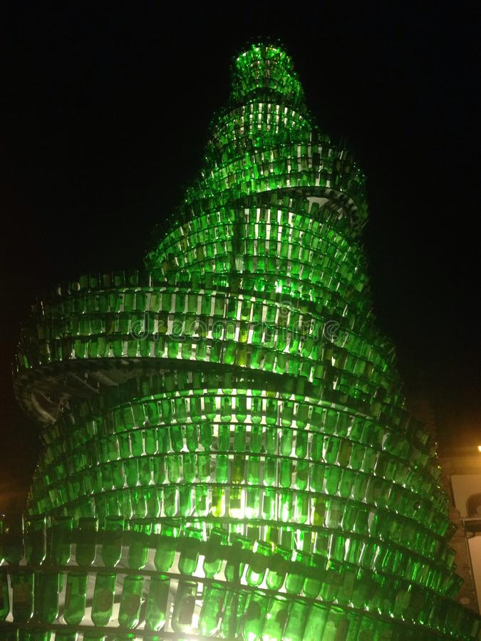 Sculpture in Gijon, Spain. Sculpture made of wine bottles in Gijon, Spain stock photos