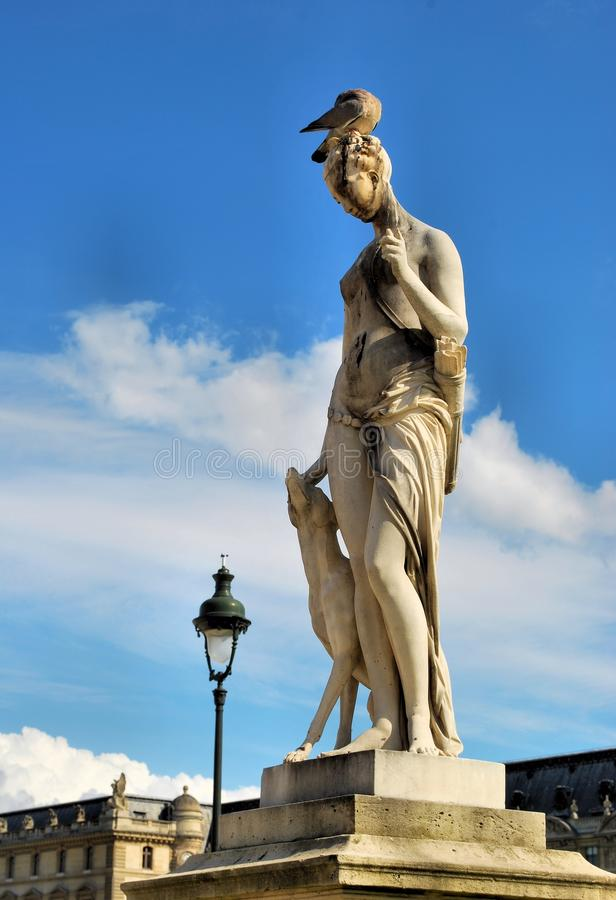 Sculpture of the goddess Diana the Huntress royalty free stock image
