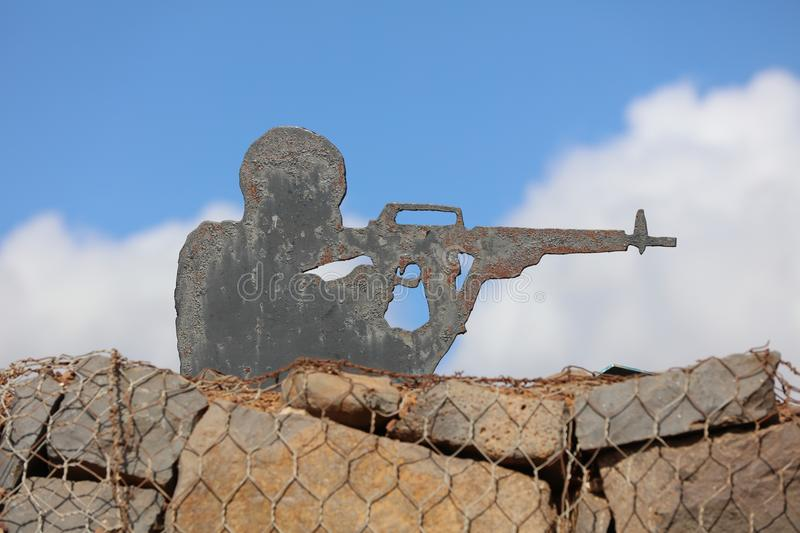 Sculpture on the Golan Heihts between Israel and Syria stock images