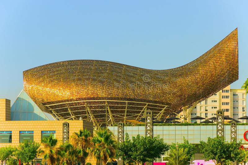 sculpture Gold Fish in area of Port Olympic Barcelona, Catalonia stock image