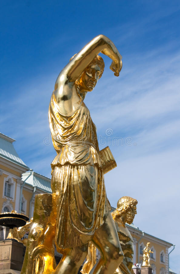 Sculpture Of Grand Cascade Fountains In Peterhof Royalty Free Stock Image
