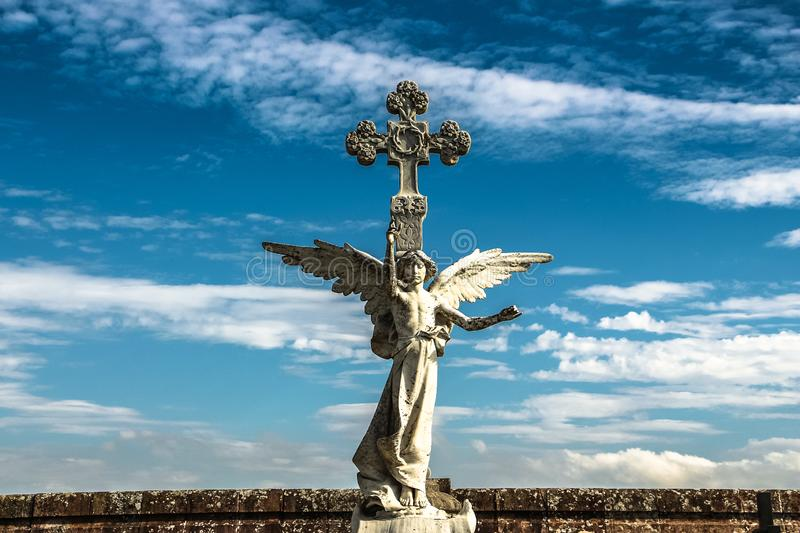 Sculpture of a Guardian angel at cemetery of Comillas. Sculpture of a Guardian angel isolated. cemetery of Comillas. Cantabria - Spain royalty free stock image