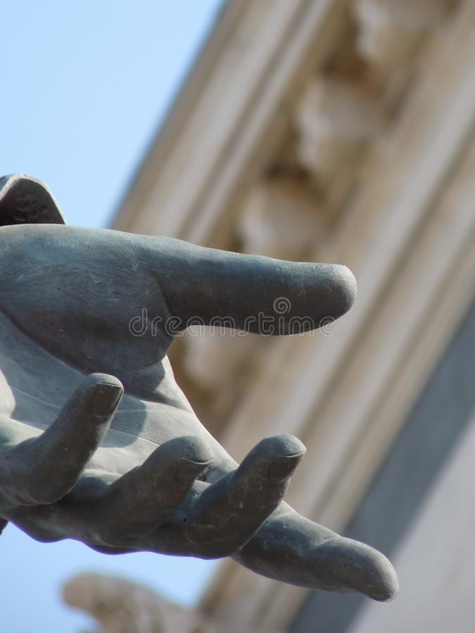 Sculpture, Hand, Close Up, Sky royalty free stock images