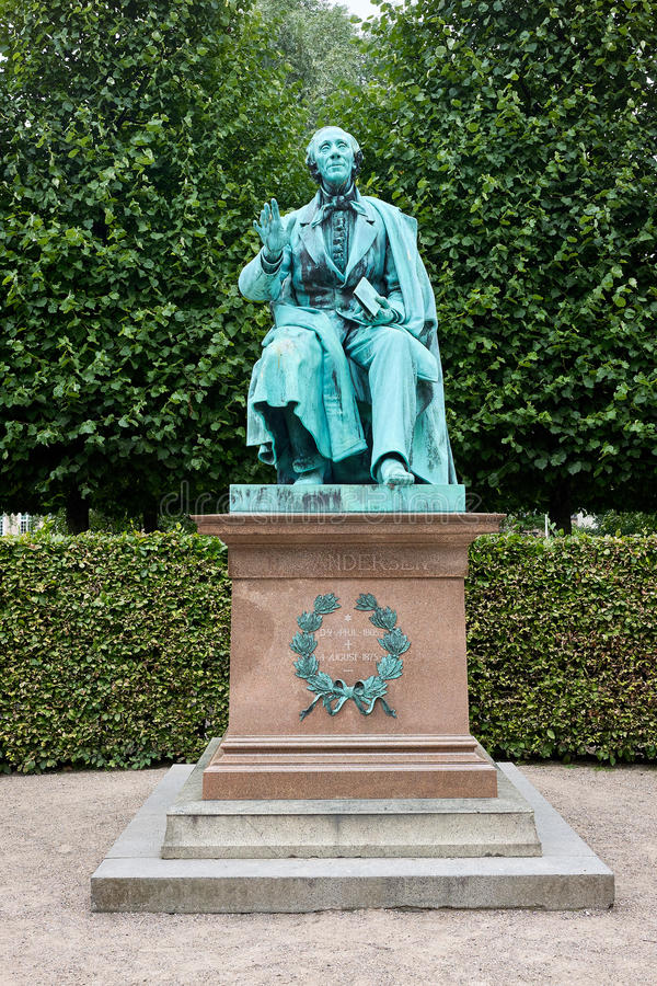 Sculpture of hans christian andersen. Bronze Statue of the world famous danish fairy tale writer Hans Christian Andersen standing in the Kings Garden in stock images