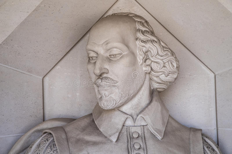 William Shakespeare Sculpture in London. A sculpture of historic playwright William Shakespeare, located outside the Guildhall Art Gallery in London, UK royalty free stock image