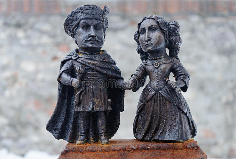 Sculpture of Ilona Zriniy and Imre Tekeli in castle Palanok royalty free stock image