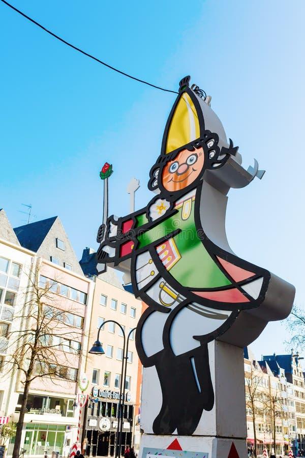 Sculpture légère d'un caractère de carnaval à Cologne image stock