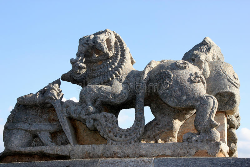 Sculpture of lion in Hoysaleswara temple complex, Halebidu, Hassan District, Karnataka, India royalty free stock images