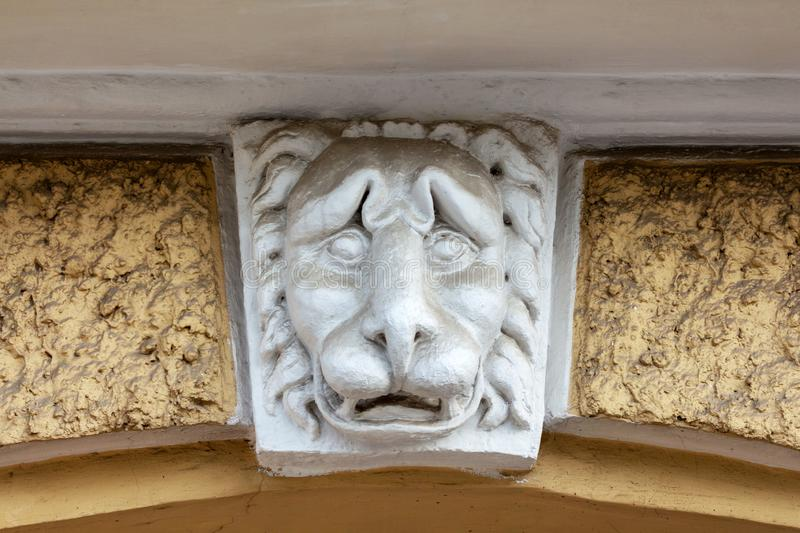 Lion head sculpture. sad face royalty free stock photos