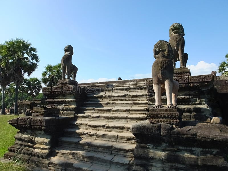 Sculpture of a lion on the terrace of the elephants, Angkor Thom, Cambodia stock images