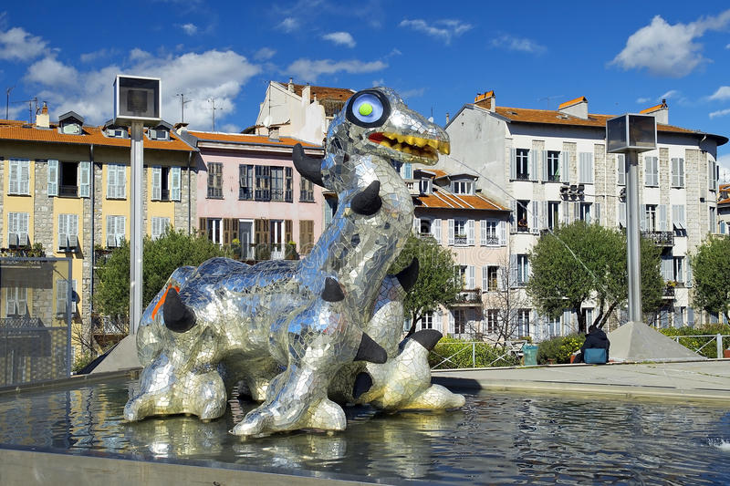 Sculpture Loch Ness Monster by Niki de Saint Phalle, french sculptor royalty free stock photo