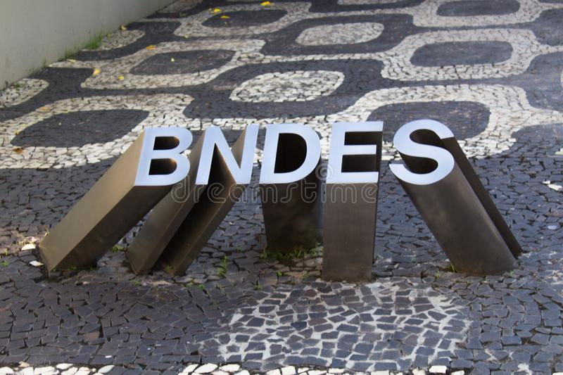 Sculpture of the logo at the entrance of the National Bank for Economic and Social Development BNDES royalty free stock image