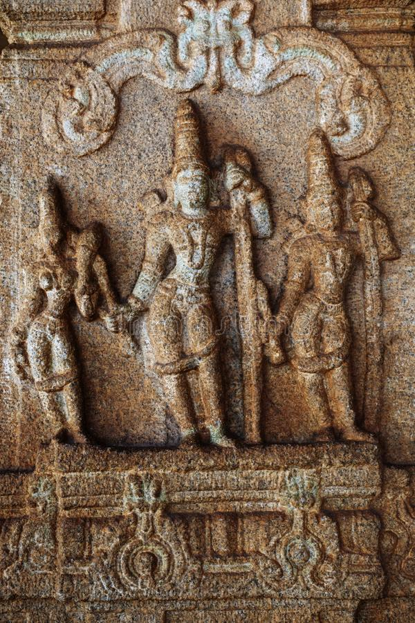 Sculpture of Lord Rama, Lakshman and Sita at the Vittala Temple, Hampi, Karnataka, India.  stock image
