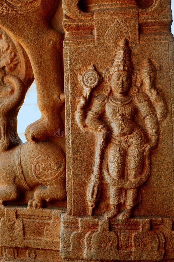 Sculpture of Lord Rama at the Vittala Temple, Hampi, Karnataka, India.  royalty free stock image