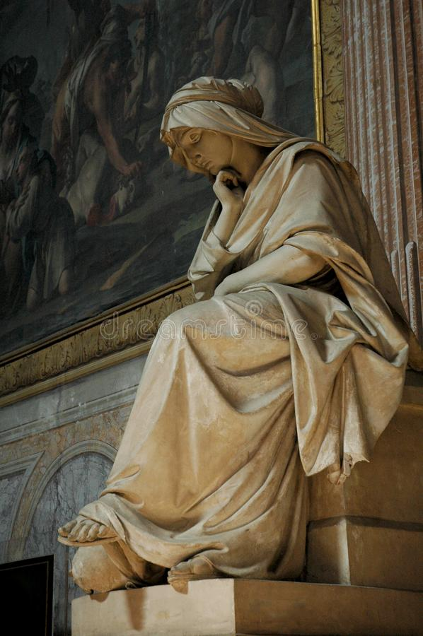 Sculpture of Mary in Rome, Italy. Rome architecture and landmark. Holy Angel Castle, also known as Hadrian Mausoleum is royalty free stock images