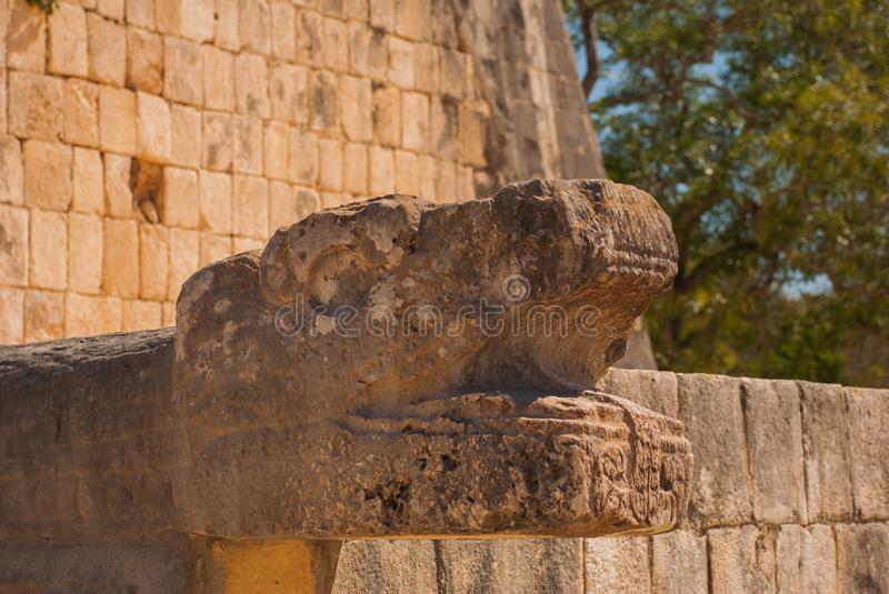 The sculpture of the Maya. Ancient Mayan city. Chichen-Itza, Mexico. Yucatan. The sculpture of the Maya. Ancient Mayan city. Ruined buildings and pyramids stock photography
