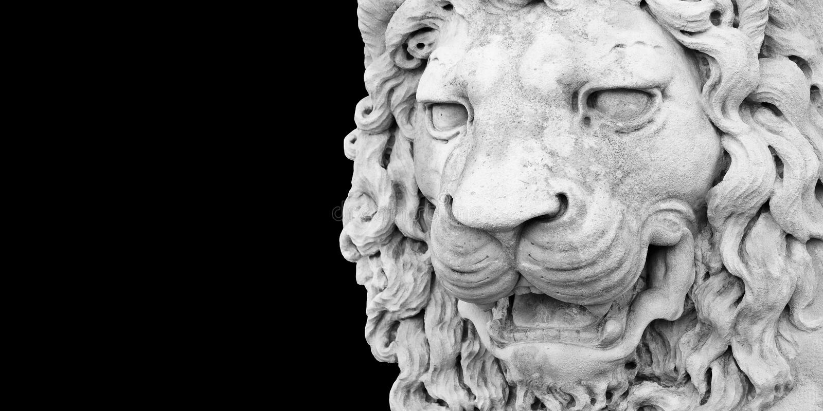 Sculpture of a medieval lion head of stone Italy - Image with copy space isolated on black background for easy selection stock photography