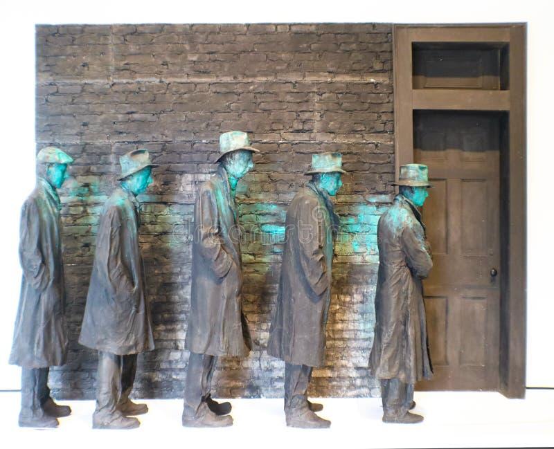 Sculpture of men lined up during US Depression at USA, Arkansas, Bentonville, Crystal Bridges Museum of American Art, 8-24-2017 stock image