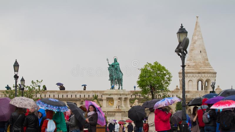 Sculpture monument to the first king of Hungary Saint Stephen, Szent Istvan kiraly on Castle Hill stock image