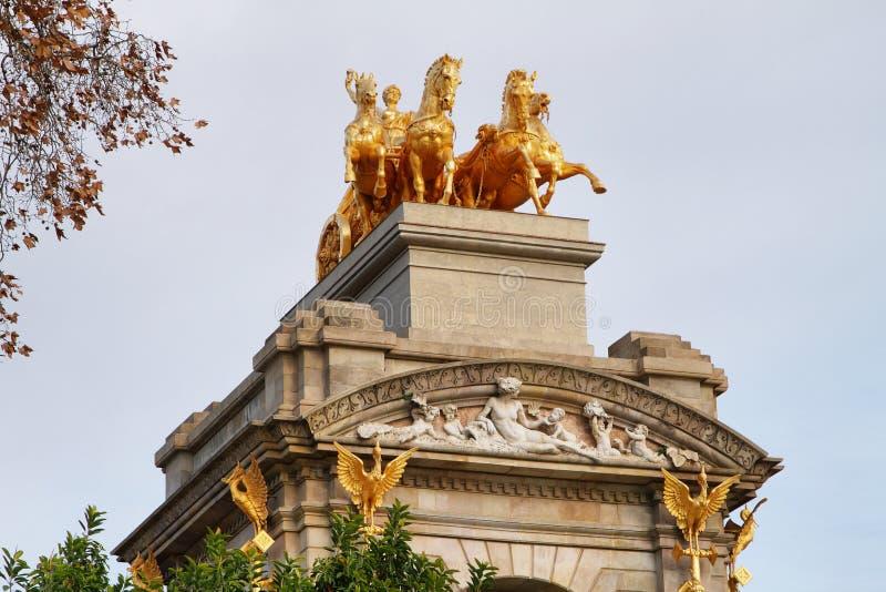 Sculpture of mythological equestrian on Ciutadella park. Fountain in barcelona, Catalonia, Spain royalty free stock photos