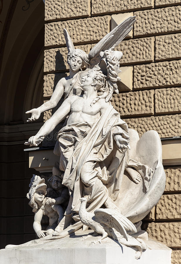 Sculpture at the Opera and Ballet Theater in Odessa stock photography