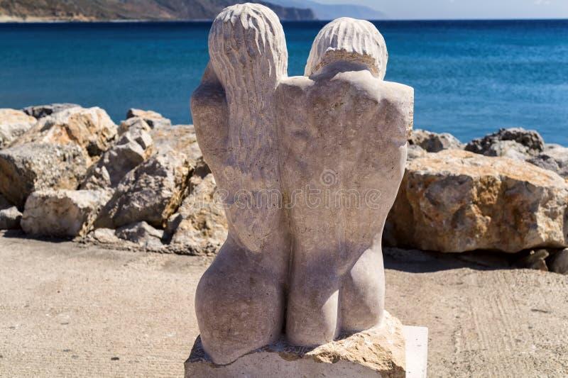 Sculpture on paralia Methexis in Paleochora, Crete island, Greece stock image