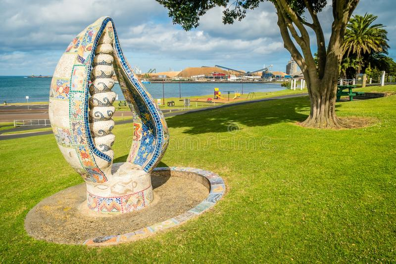 Sculpture in the park of Portland in Victoria, Australia stock images
