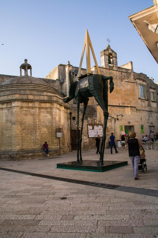 Italy. Matera. El Elefante Espacial, a monumental bronze work by the Catalan surrealist artist Salvador Dalí. The sculpture is part of the temporary royalty free stock images