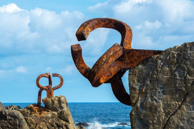 Sculpture `Peine del Viento` in San Sebastian, Spain stock images