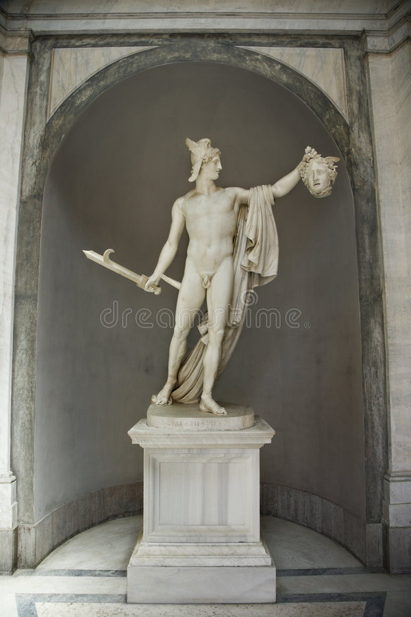 Sculpture of Perseus and Medusa. stock images