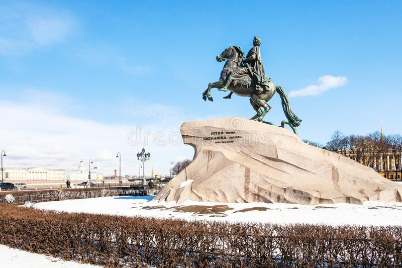 Sculpture of Peter the Great in the Senate Square. Bronze Horseman sculpture of Peter the Great in the Senate Square in Saint Petersburg. The monument was built stock images