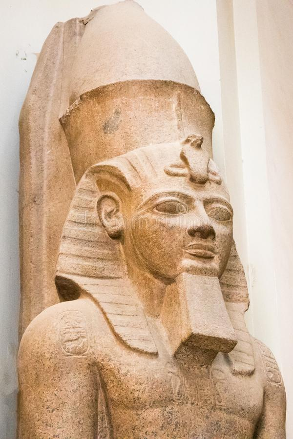 A sculpture of Pharaoh at the Museum of Egyptian Antiquities royalty free stock images