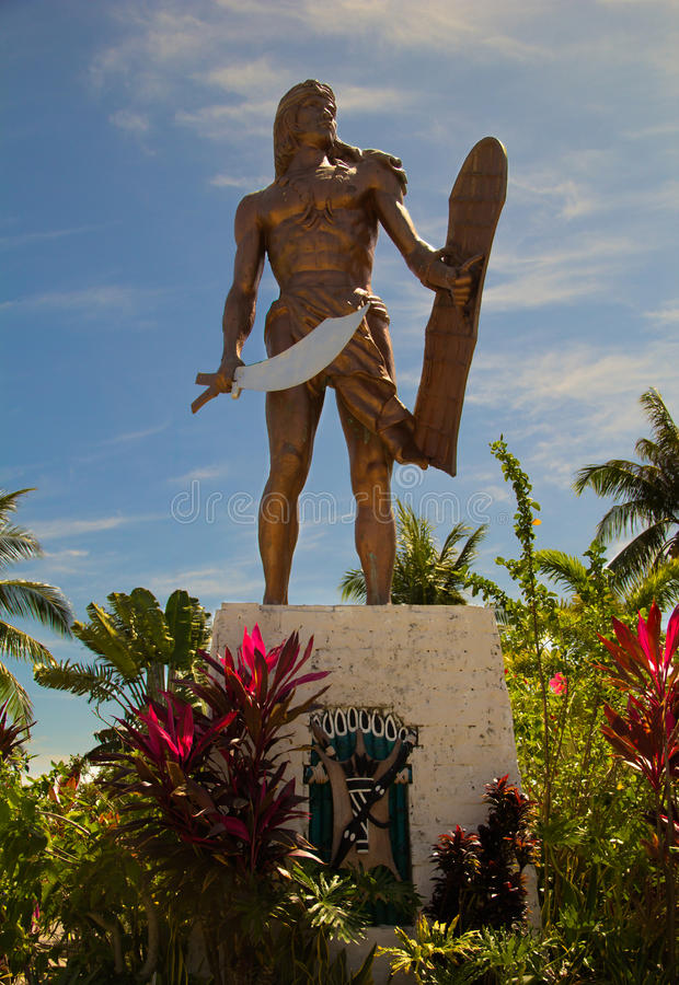 Sculpture of Philippine head Lapu-Lapu in Mactan Island stock photo