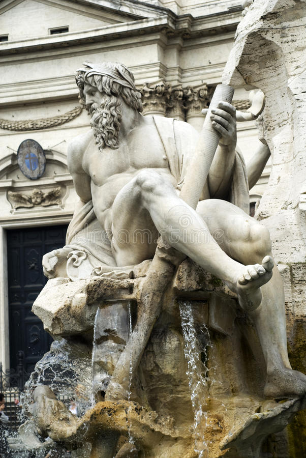 Sculpture in Piazza Navone, Rome, Italy royalty free stock photography