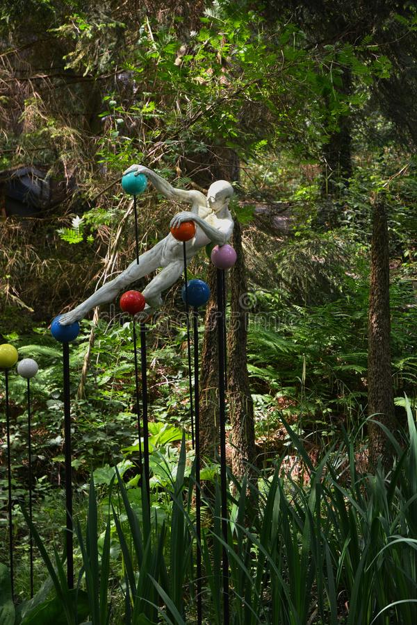 Sculpture. Pin Ball Wizz. By Pirre Diamantopoulo. Made from marble resin, aluminium and steel the sculpture Pin Ball Wizz appears to float in the air. Pierre stock photography