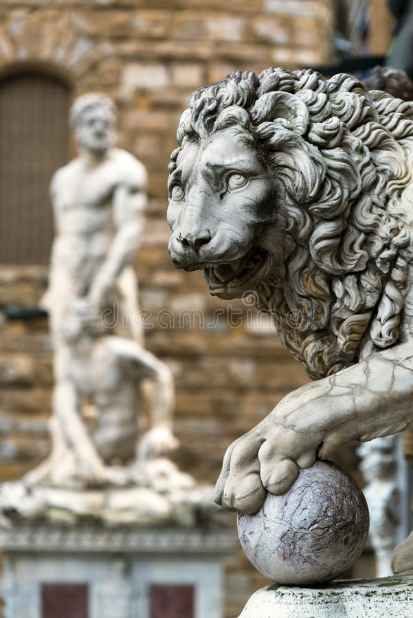 Sculpture of the Renaissance in Piazza della Signoria in Florence. Italy stock photography