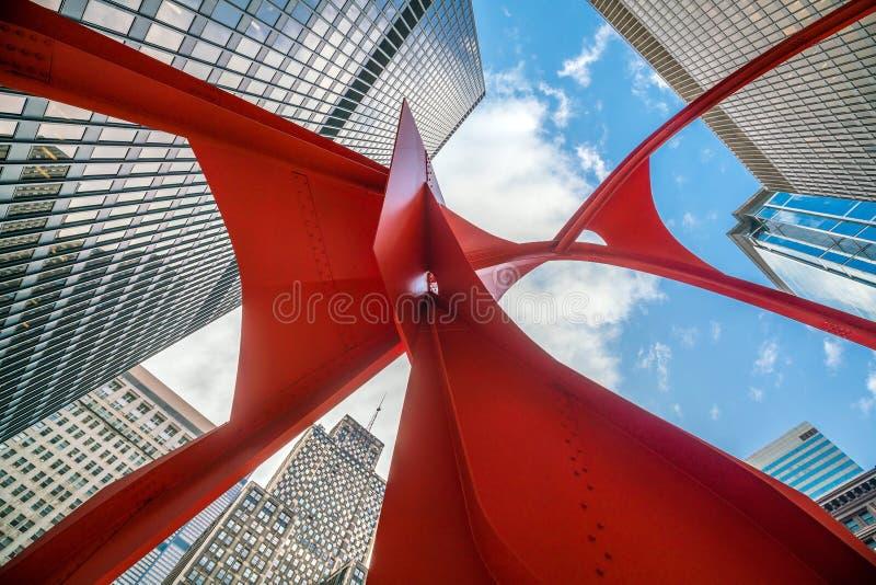 Sculpture rouge en flamant Chicago image stock