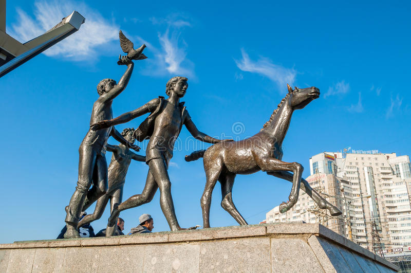 Sculpture Running children near the Pionerskaya metro station in St Petersburg, Russia royalty free stock photos