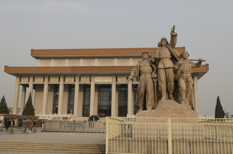 Sculpture of soldiers fighting at entrance to Mausoleum of Mao Zedong on Tiananmen Square in Beijing China stock image