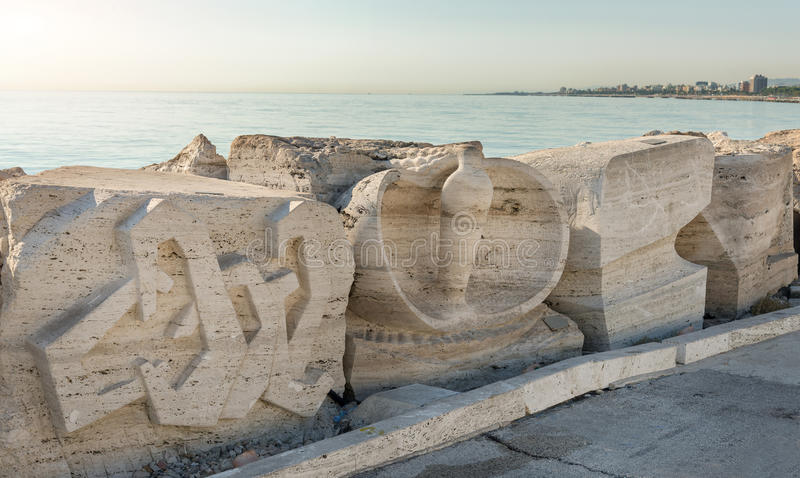 Sculpture on the south of San Benedetto del Tronto - Italy. SAN BENEDETTO DEL TRONTO, ITALY - AUGUST 29, 2016: sculpture on the south pier by the Art museum of royalty free stock photography