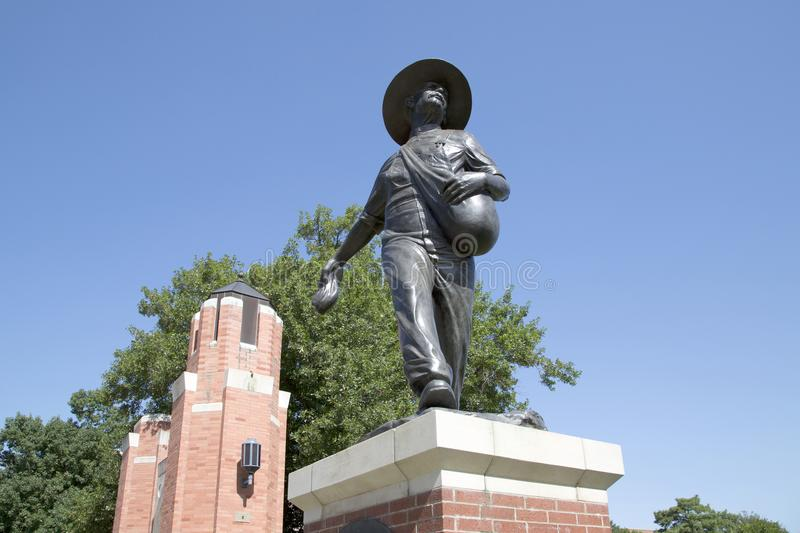 Sculpture of a Sower in University of Oklahoma USA royalty free stock photos