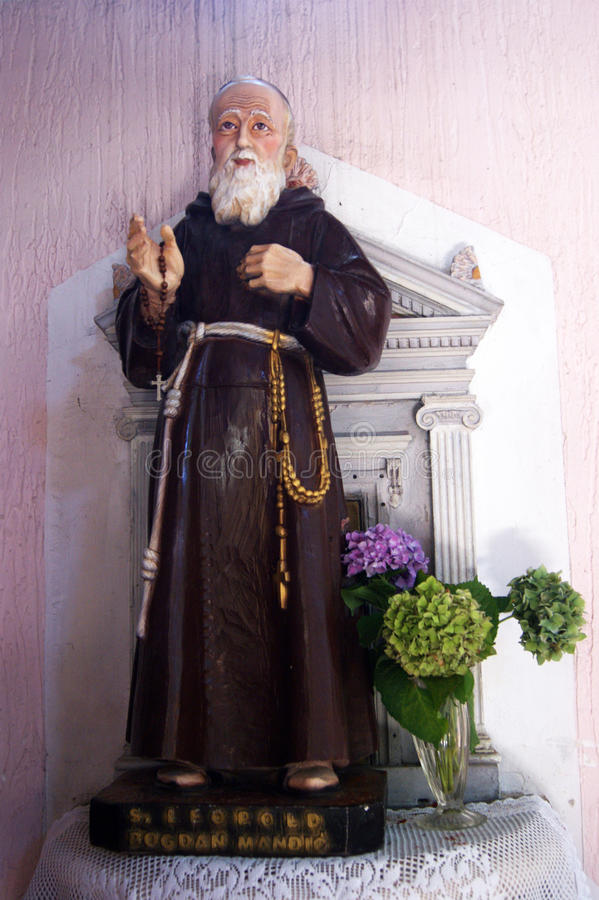 Sculpture of St. Leopold Mandic in the church of St. Roch. Sculpture depicting the Leopold Mandic, a Catholic saint from Montenegro, in the church of St. Roch in stock photography