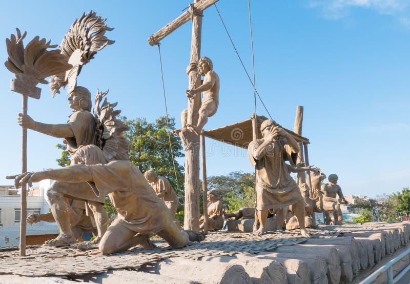 Sculpture sur bois Chiclayo Pérou en promenade de Yortuque photos stock