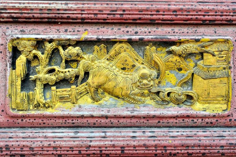 Sculpture sur bois chinoise photo stock