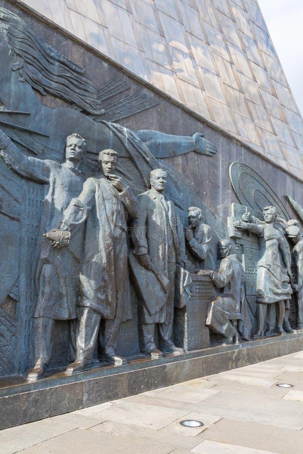 Sculpture sur le monument aux conquérants de l'espace, Moscou, Russie photos libres de droits