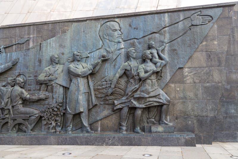 Sculpture sur le monument aux conquérants de l'espace, Moscou, Russie image stock